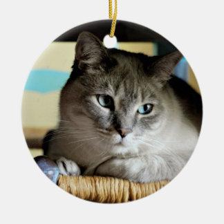Siamese Cat in Antique Wicker Chair Ceramic Ornament