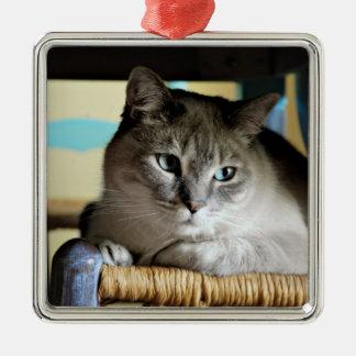 Siamese Cat in Antique Wicker Chair Metal Ornament