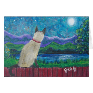 Siamese Cat in the Moonlight note card