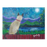 Siamese Cat in the Moonlight Postcard