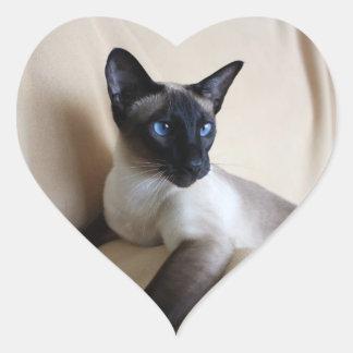 Siamese Cat Jazell Heart Sticker