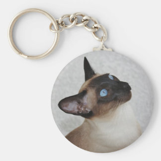 Siamese Cat Looking Up Keychain