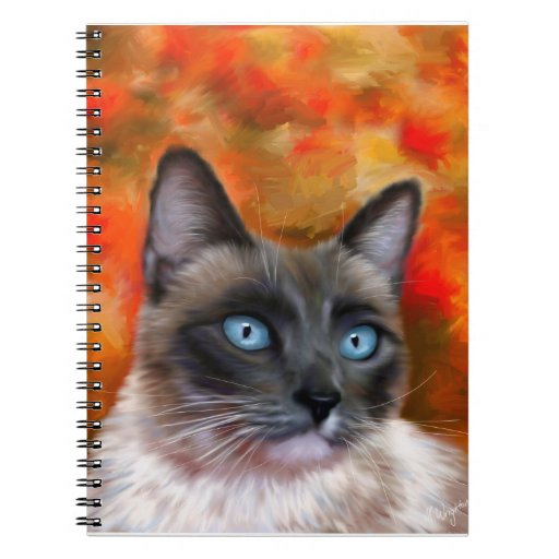 Siamese Cat Lover Art Fire And Ice Note Book