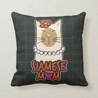 Siamese Cat Mom Green Tartan Throw Pillow