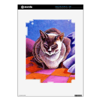 Siamese Cat on a Patchwork Quilt Skins For The iPad 2