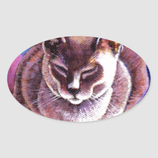 Siamese Cat on a Patchwork Quilt Oval Sticker
