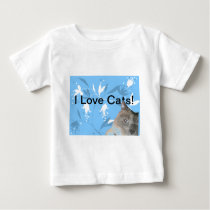 siamese cat on blue floral pattern baby T-Shirt