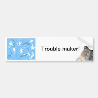 siamese cat on blue floral pattern bumper sticker