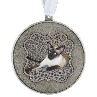 Siamese Cat on Leopard Print Wild Animal Spots Pewter Ornament