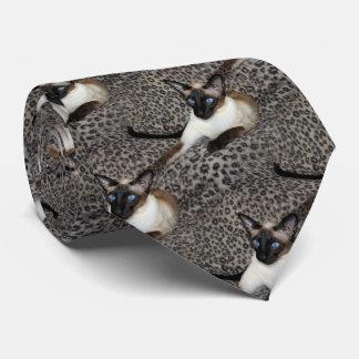 Siamese Cat on Leopard Print Wild Animal Spots Tie