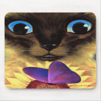 Siamese Cat Painting With Butterfly - Multi Mouse Mats