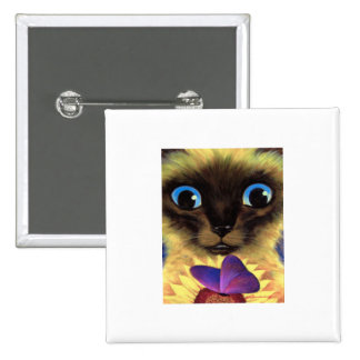 Siamese Cat Painting With Butterfly - Multi Pinback Button