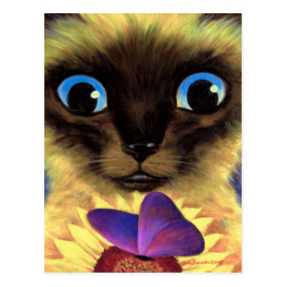 Siamese Cat Painting With Butterfly - Multi Postcard