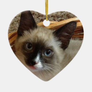 Siamese Cat Pet Purr Meow Kitty Destiny Double-Sided Heart Ceramic Christmas Ornament
