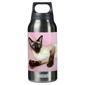 Siamese Cat Pink Background Insulated Water Bottle