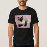 Siamese Cat Pink Background Tee Shirt