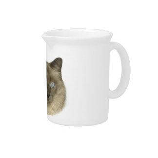 Siamese Cat Portrait Beverage Pitcher