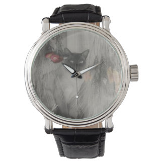 Siamese Cat Posing In Black And White Wrist Watches