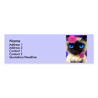 Siamese Cat Profile Card Double-Sided Mini Business Cards (Pack Of 20)