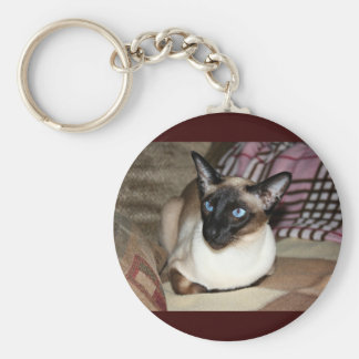 Siamese Cat Relaxing on Couch Basic Round Button Keychain