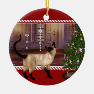 Siamese Cat - Round Christmas Ornament