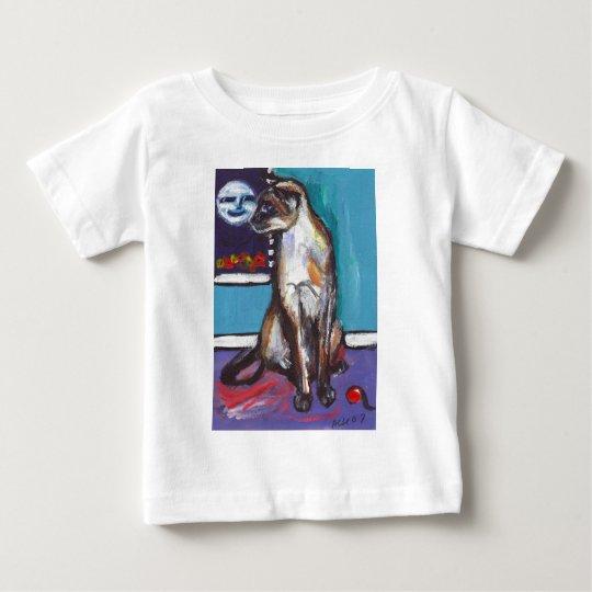 Siamese cat senses smiling moon baby T-Shirt