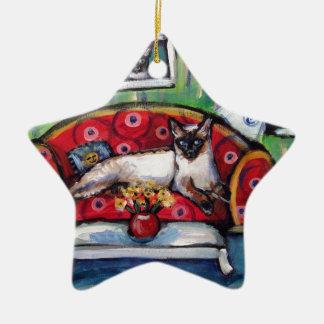 Siamese cat senses smiling moon cat painting ceramic ornament