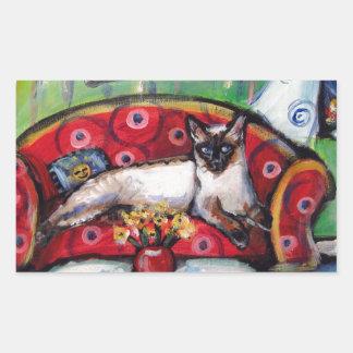 Siamese cat senses smiling moon cat painting rectangular sticker