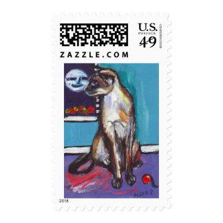 Siamese cat senses smiling moon postage