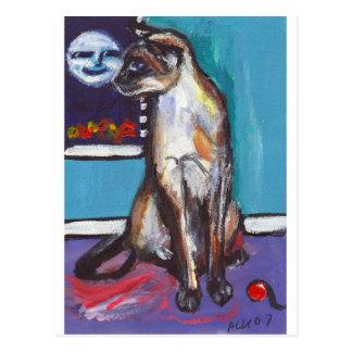 Siamese cat senses smiling moon postcard