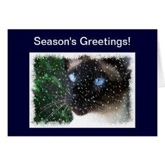 Siamese Cat Snow Season s Greetings Card
