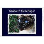 Siamese Cat Snow Season's Greetings Card