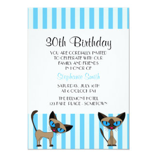 Siamese Cat Striped Birthday Invitation