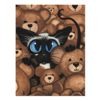 Siamese Cat Teddy Bear Hug by BiHrLe Postcard