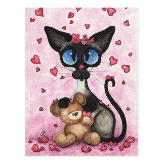 Siamese Cat Valentine Be Mine Bear by BiHrLe Postcard