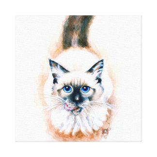 Siamese Cat Watercolor Canvas Print