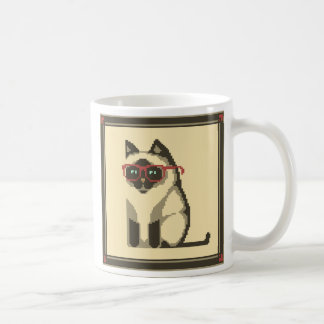 Siamese Cat Wearing Glasses Pixel Art Mug