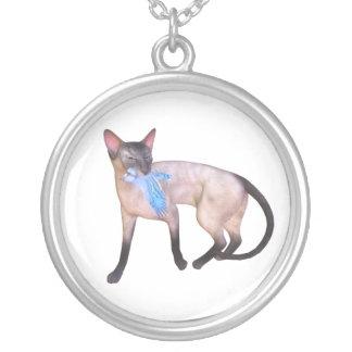 Siamese cat with bird round pendant necklace