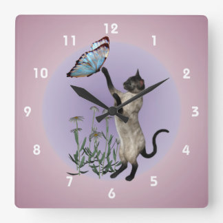 Siamese Cat With Blue Butterfly Animal Square Wall Clock