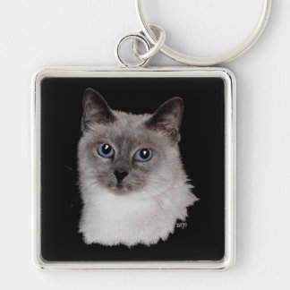 Siamese Cat with Blue Eyes Silver-Colored Square Keychain