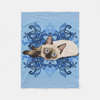 Siamese Cat With Blue Floral Design Fleece Blanket