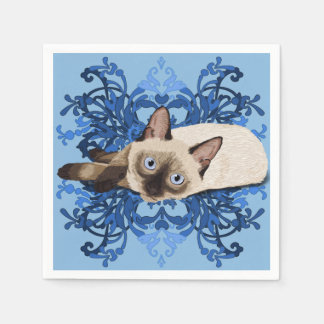 Siamese Cat With Blue Floral Design Napkin