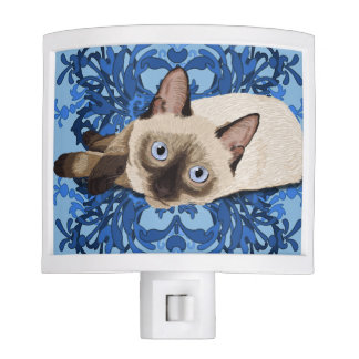 Siamese Cat With Blue Floral Design Night Light