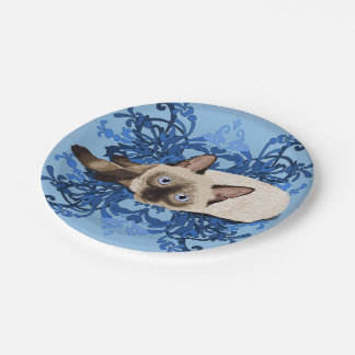 Siamese Cat With Blue Floral Design Paper Plate