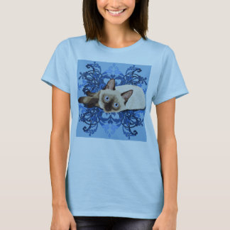 Siamese Cat With Blue Floral Design Womens T-Shirt