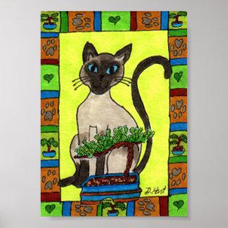Siamese Cat with Bonsai Juniper Tree Mini Folk Art Poster