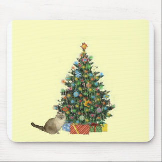 Siamese Cat With Christmas Tree Mouse Pad