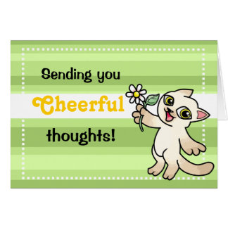 Siamese cat with daisy cheerful card