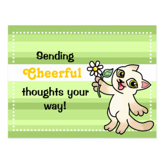 Siamese cat with Daisy Cheerful postcard