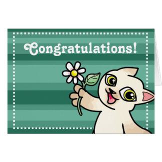 Siamese cat with daisy congratulations card